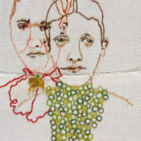 Twins, contemporary embroidery, fiber art, embroidered portrait