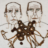 Lia de Jonghe, embroidered portrait, twins portrait, art textile contemporain