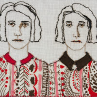Lia de Jonghe, twins, jumelles, embroidery, fiber art, embroidered portrait
