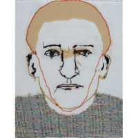 Portrait embroidered by Lia de Jonghe, fiber artits